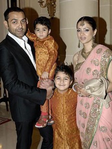 Bobby Deol family photos children Aryaman Deol and Dharam Deol