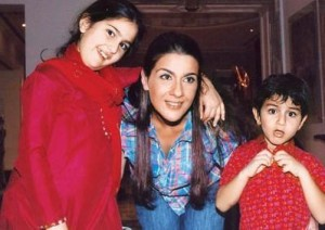 Ex-wife Amrita Singh with children