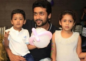 Daughter Diya and son Dev