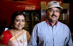 Actress Poornima Jayaram and K Bhagyaraj at the Sathuranga Vettai Audio Launch